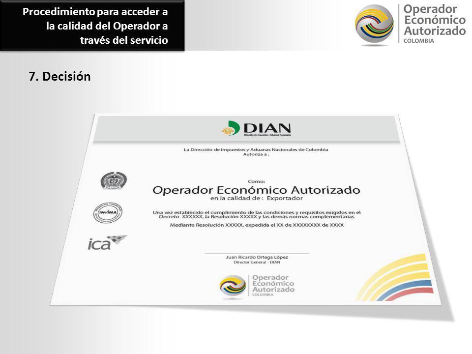 Procedimiento para acceder a la calidad del Operador a través del servicio