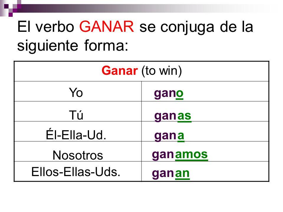 El verbo GANAR se conjuga de la siguiente forma: