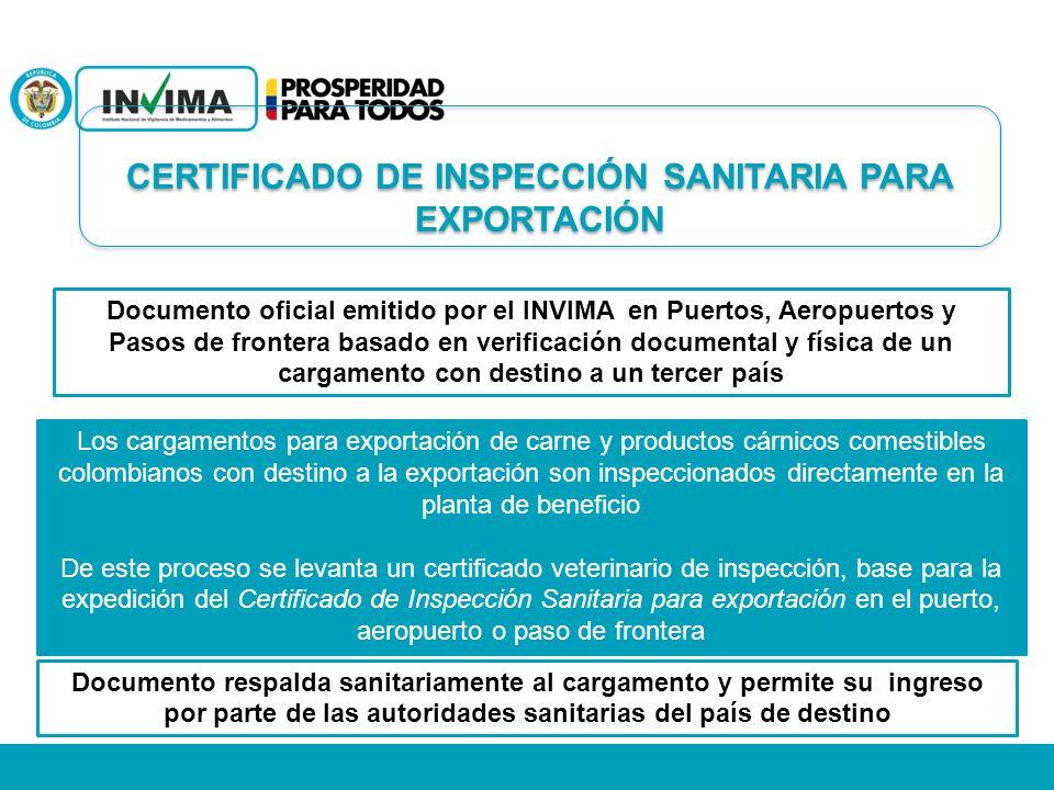 CERTIFICADO DE INSPECCIÓN SANITARIA PARA EXPORTACIÓN