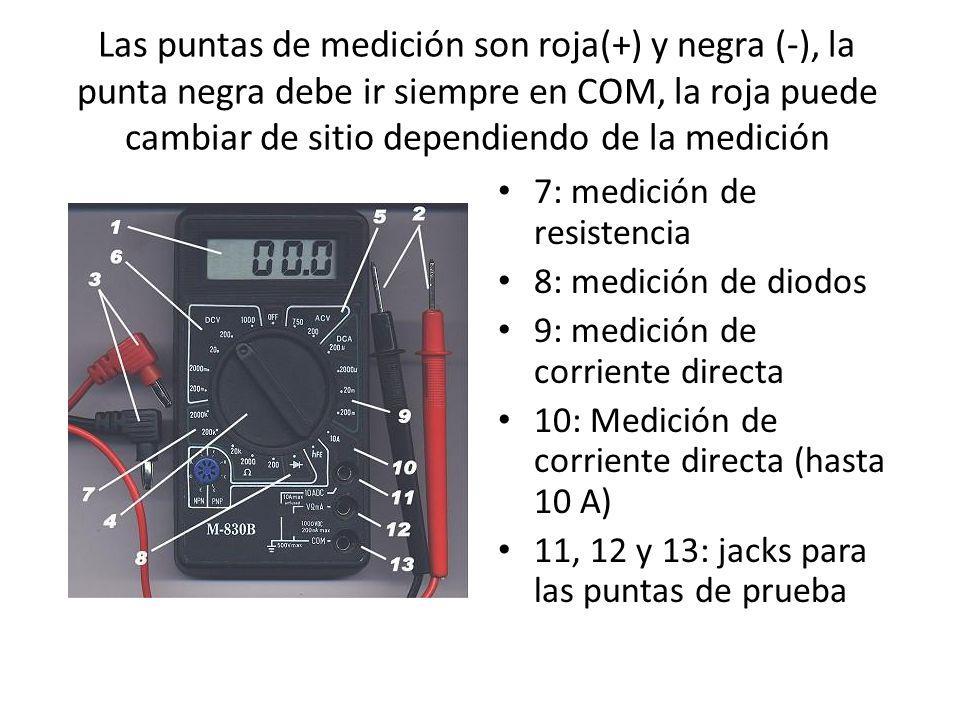 Las puntas de medición son roja(+) y negra (-), la punta negra debe ir siempre en COM, la roja puede cambiar de sitio dependiendo de la medición