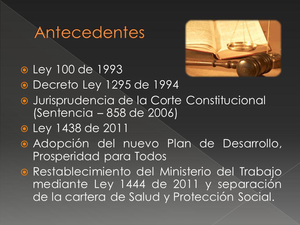 Antecedentes Ley 100 de 1993 Decreto Ley 1295 de 1994