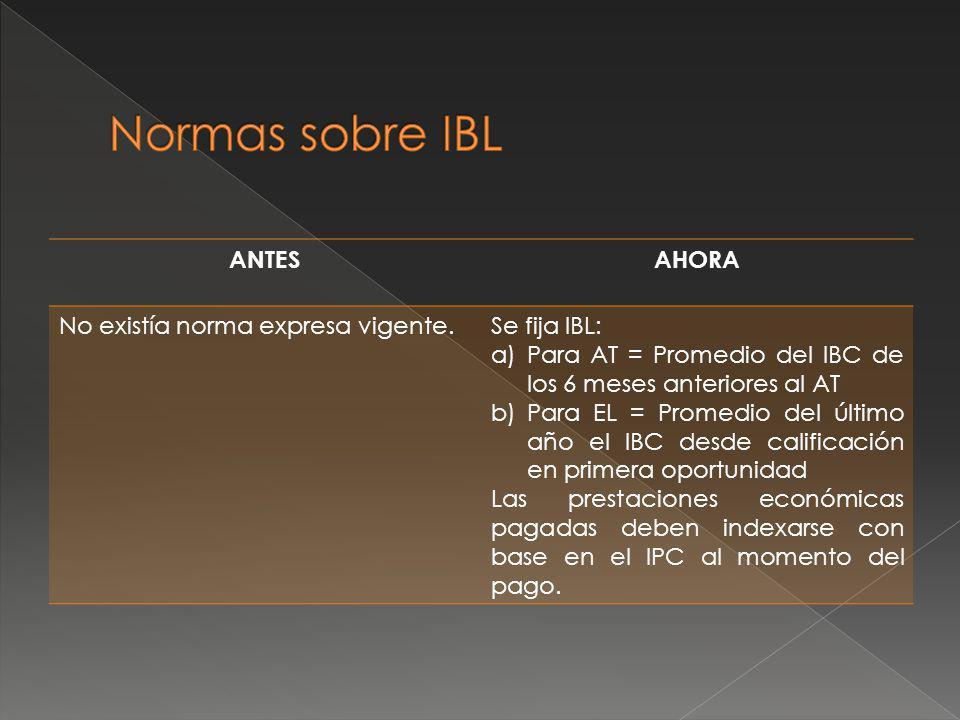 Normas sobre IBL ANTES AHORA No existía norma expresa vigente.