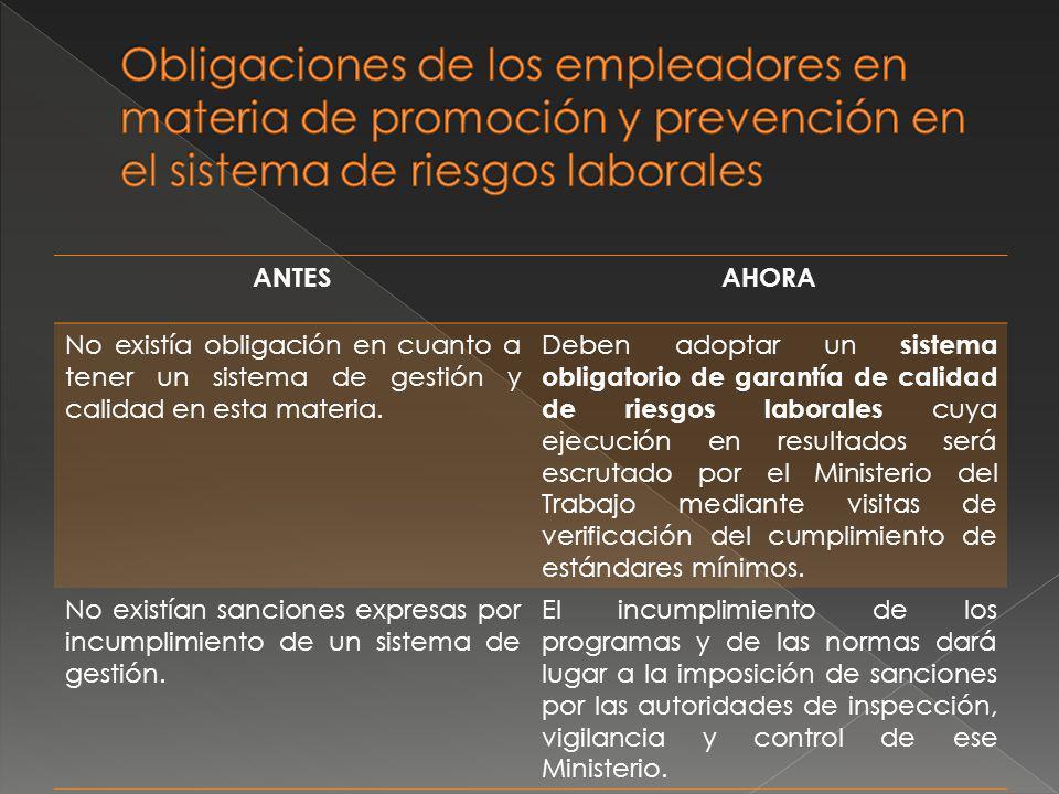 Obligaciones de los empleadores en materia de promoción y prevención en el sistema de riesgos laborales