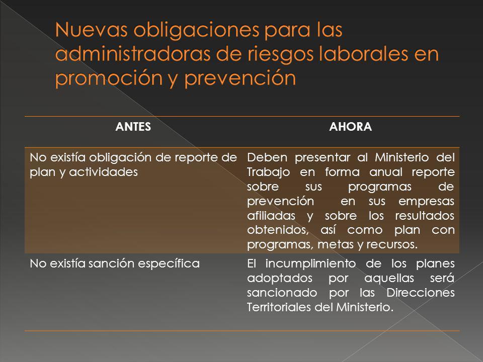 Nuevas obligaciones para las administradoras de riesgos laborales en promoción y prevención