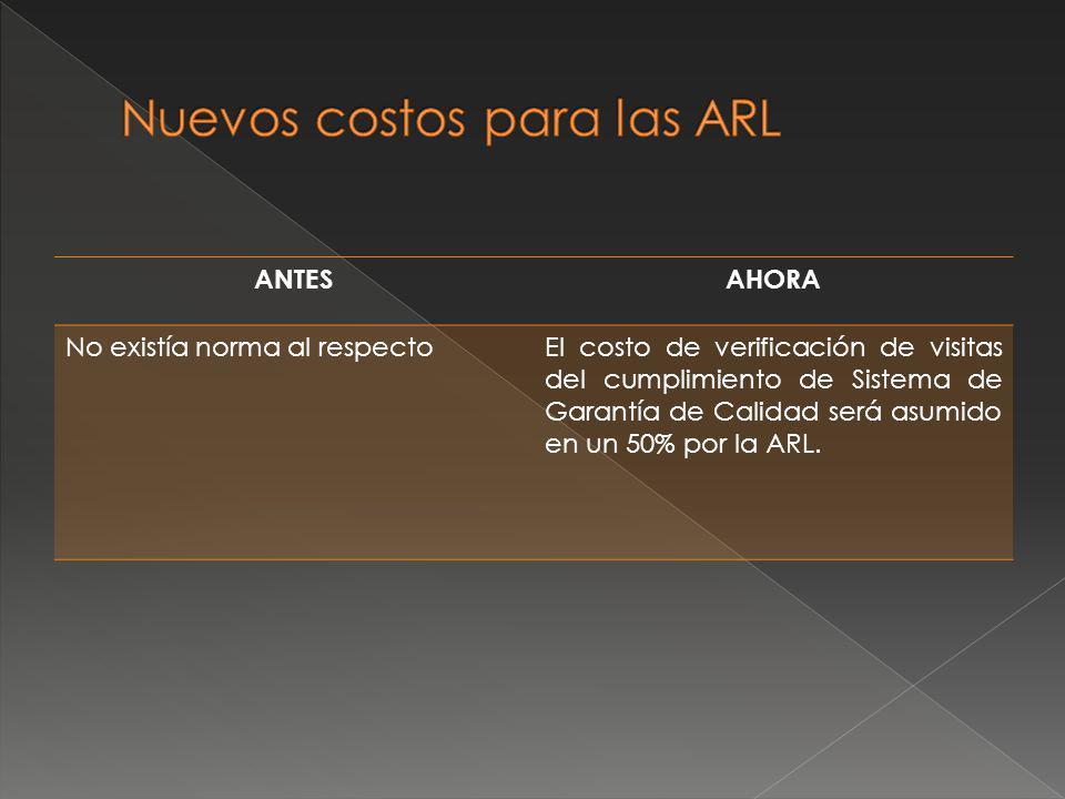 Nuevos costos para las ARL