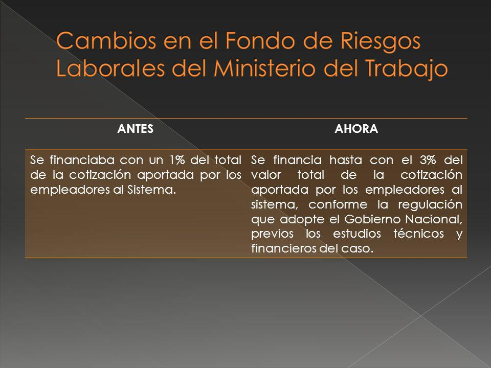 Cambios en el Fondo de Riesgos Laborales del Ministerio del Trabajo