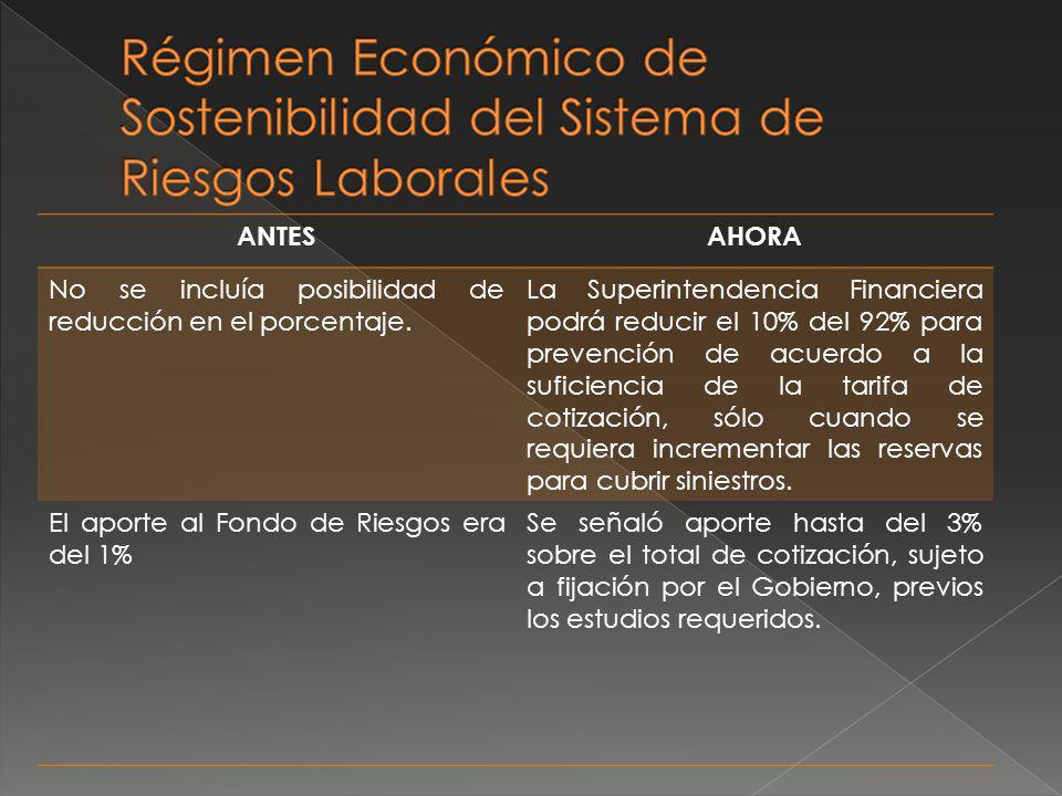 Régimen Económico de Sostenibilidad del Sistema de Riesgos Laborales