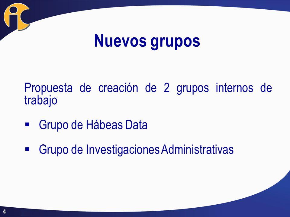 Nuevos grupos Propuesta de creación de 2 grupos internos de trabajo