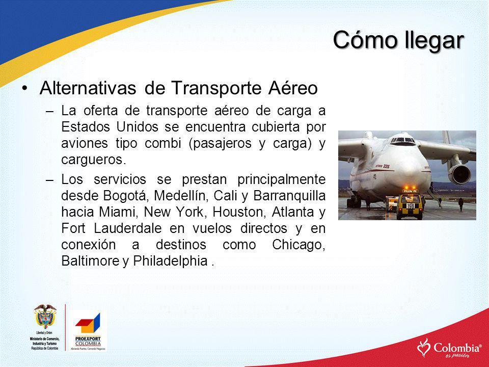 Cómo llegar Alternativas de Transporte Aéreo