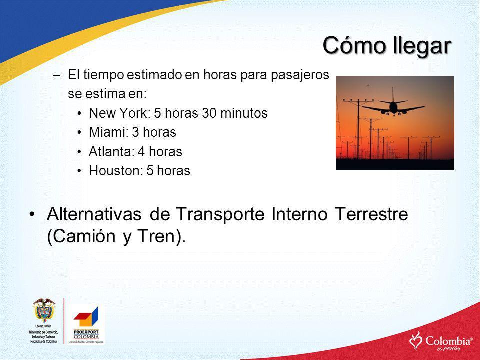 Cómo llegar El tiempo estimado en horas para pasajeros. se estima en: New York: 5 horas 30 minutos.