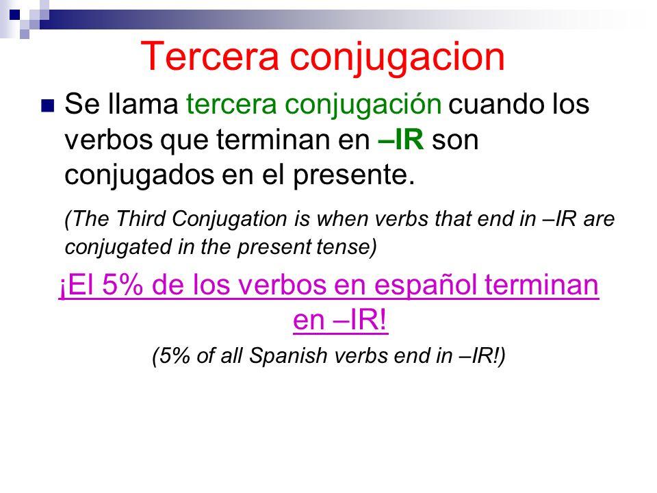 Tercera conjugacion Se llama tercera conjugación cuando los verbos que terminan en –IR son conjugados en el presente.