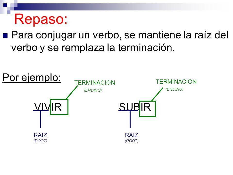 Repaso: Para conjugar un verbo, se mantiene la raíz del verbo y se remplaza la terminación. Por ejemplo: