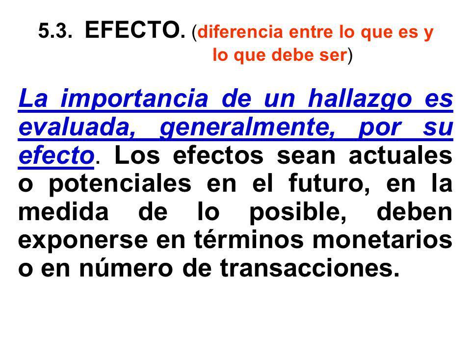 5.3. EFECTO. (diferencia entre lo que es y lo que debe ser)