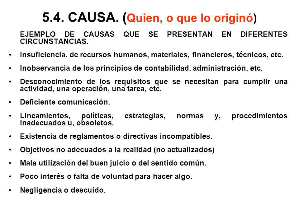 5.4. CAUSA. (Quien, o que lo originó)