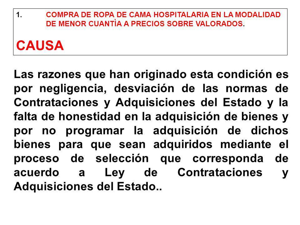 1. COMPRA DE ROPA DE CAMA HOSPITALARIA EN LA MODALIDAD