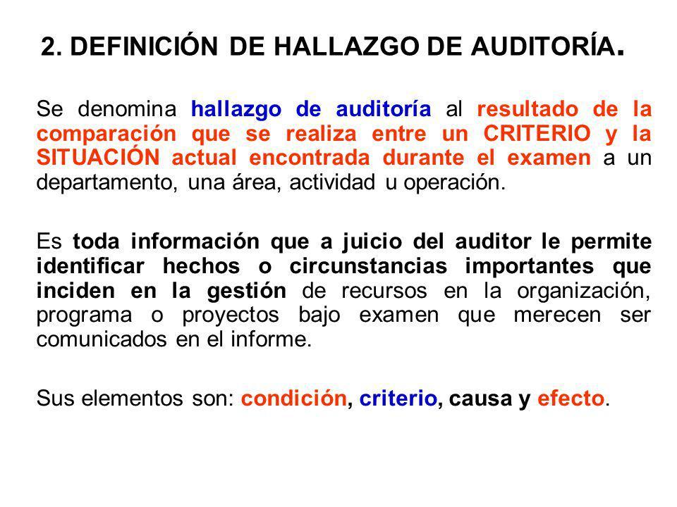 2. DEFINICIÓN DE HALLAZGO DE AUDITORÍA.
