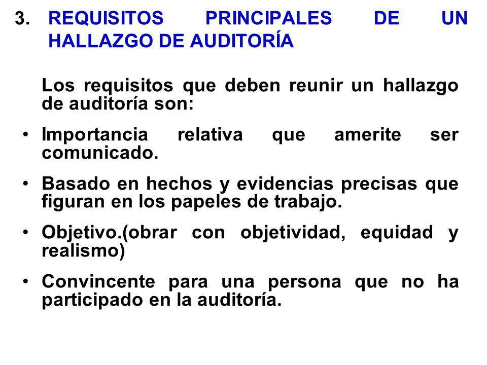 3. REQUISITOS PRINCIPALES DE UN HALLAZGO DE AUDITORÍA