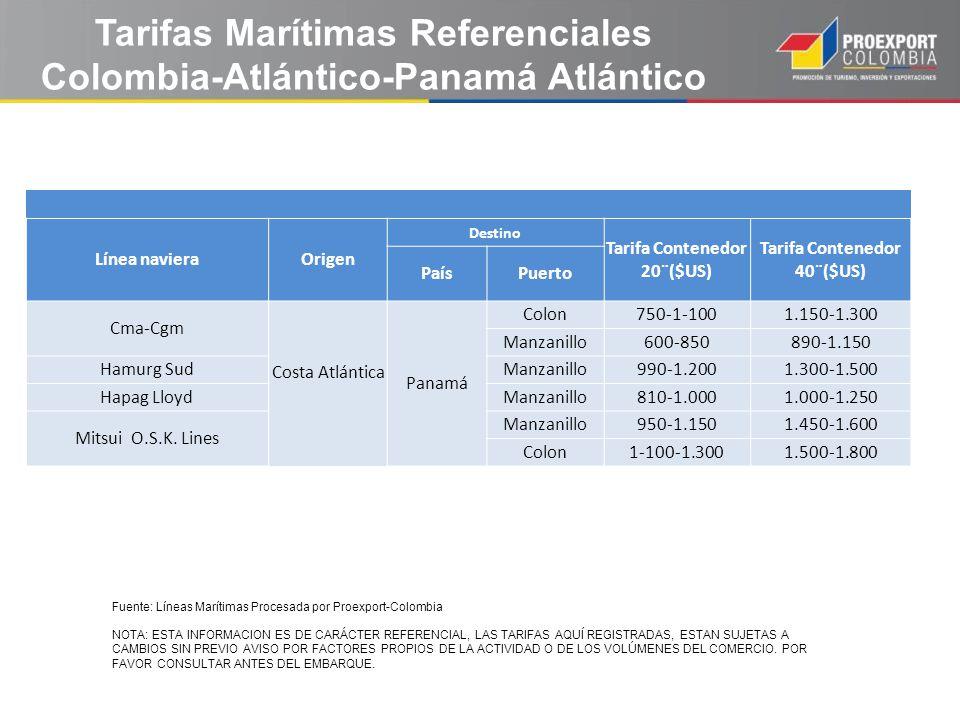 Tarifas Marítimas Referenciales Colombia-Atlántico-Panamá Atlántico
