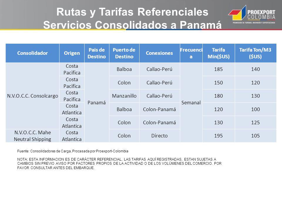 Rutas y Tarifas Referenciales Servicios Consolidados a Panamá