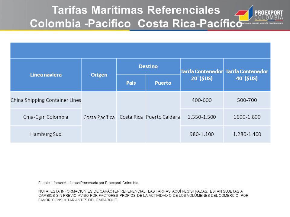 Tarifas Marítimas Referenciales Colombia -Pacifico Costa Rica-Pacífico