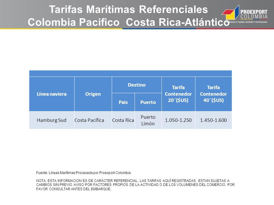Tarifas Marítimas Referenciales Colombia Pacifico Costa Rica-Atlántico