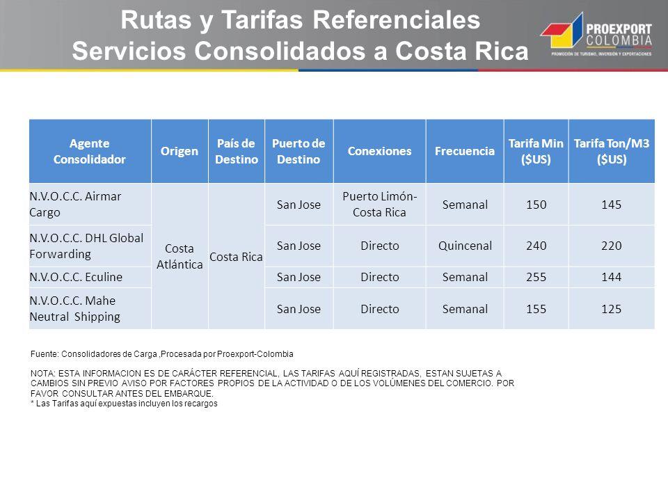 Rutas y Tarifas Referenciales Servicios Consolidados a Costa Rica