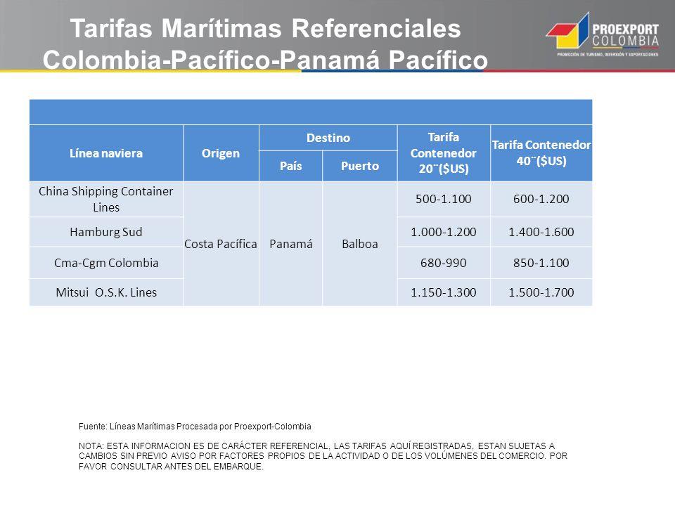 Tarifas Marítimas Referenciales Colombia-Pacífico-Panamá Pacífico
