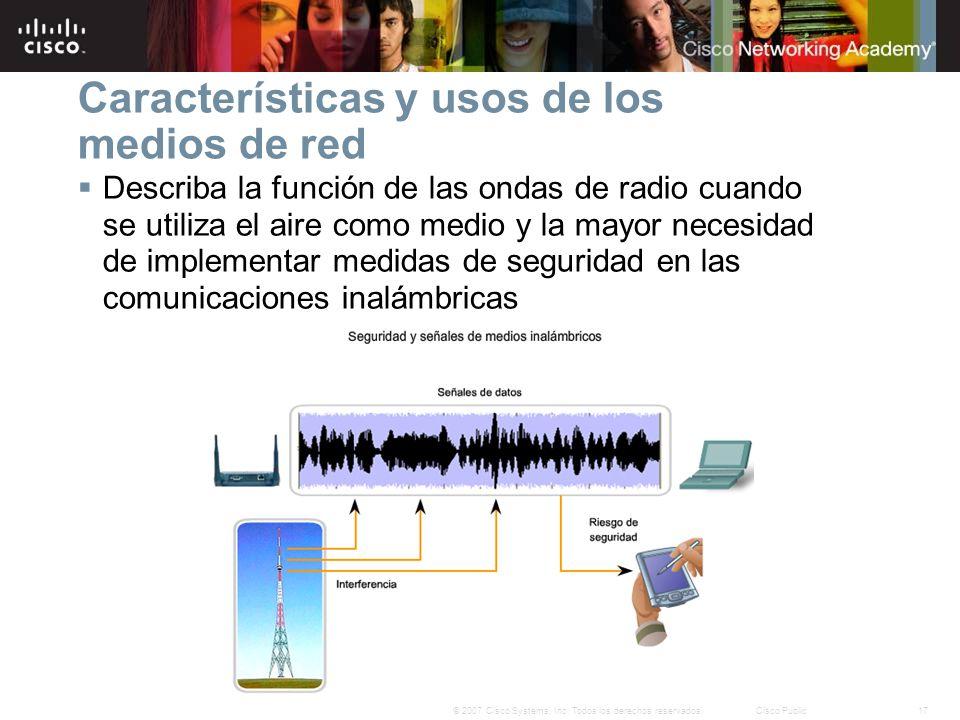 Características y usos de los medios de red