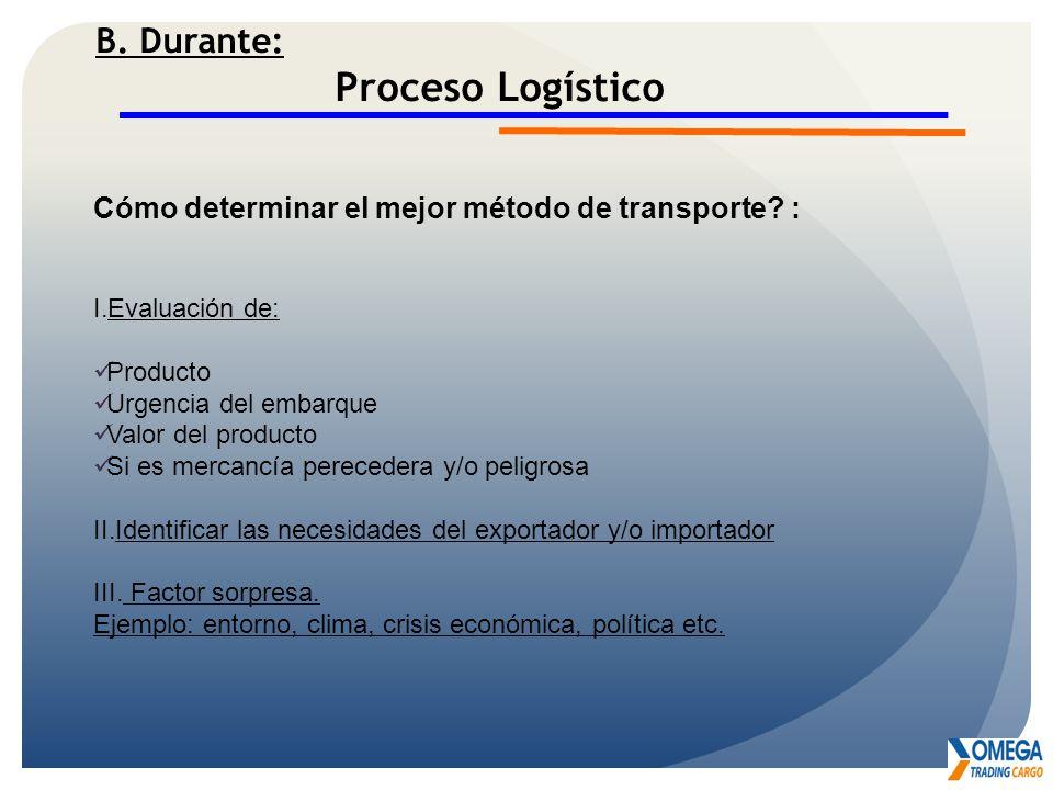 Proceso Logístico B. Durante: