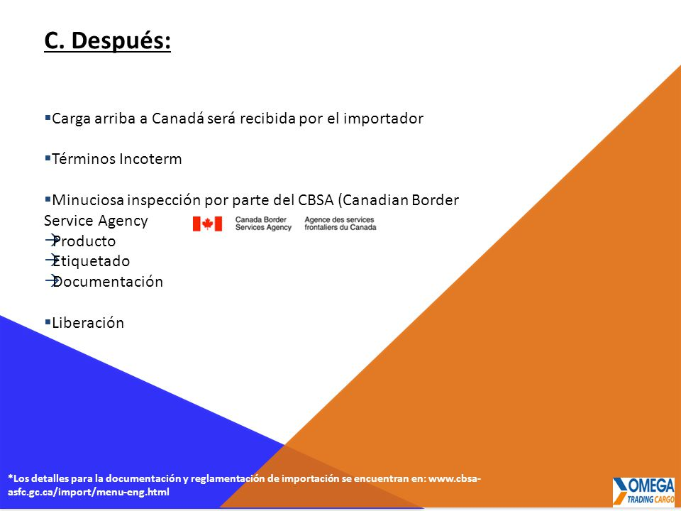 C. Después: Carga arriba a Canadá será recibida por el importador