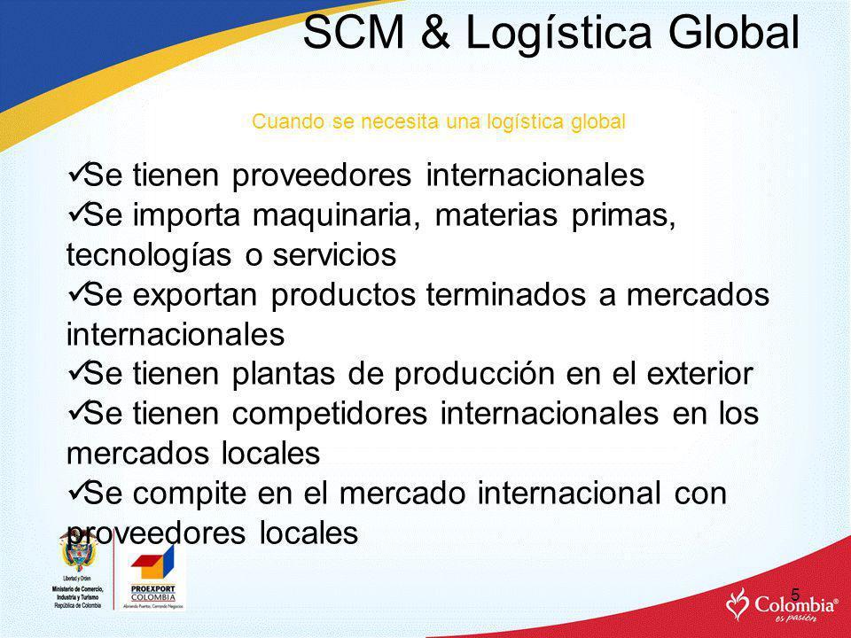 SCM & Logística Global Se tienen proveedores internacionales