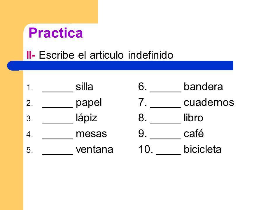 Practica II- Escribe el articulo indefinido