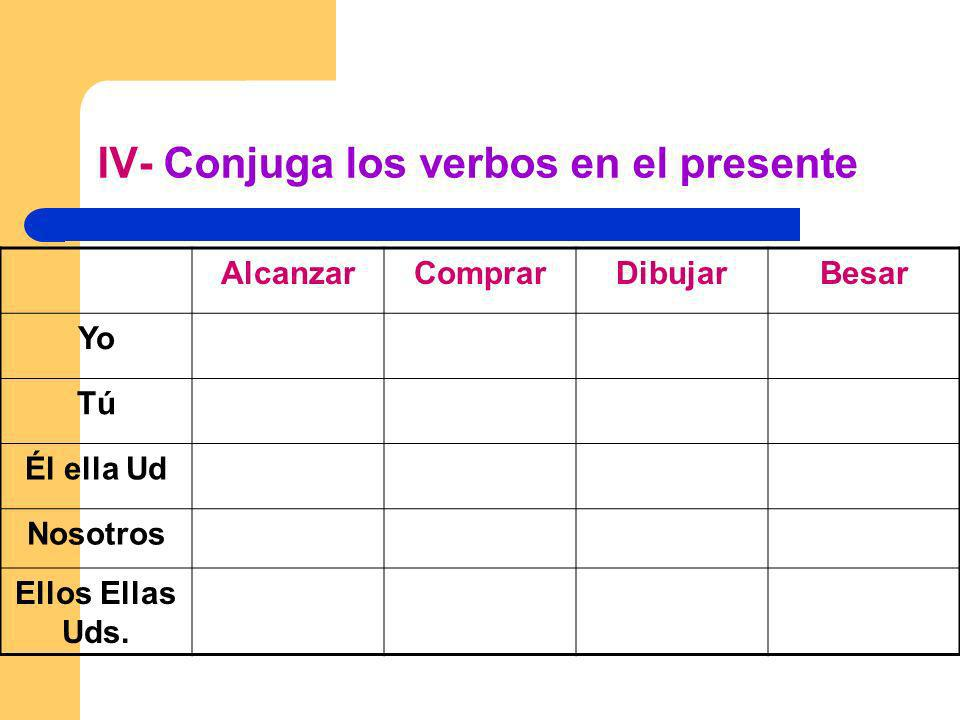 IV- Conjuga los verbos en el presente
