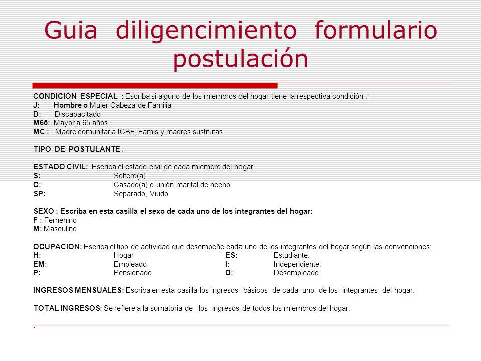 Guia diligencimiento formulario postulación
