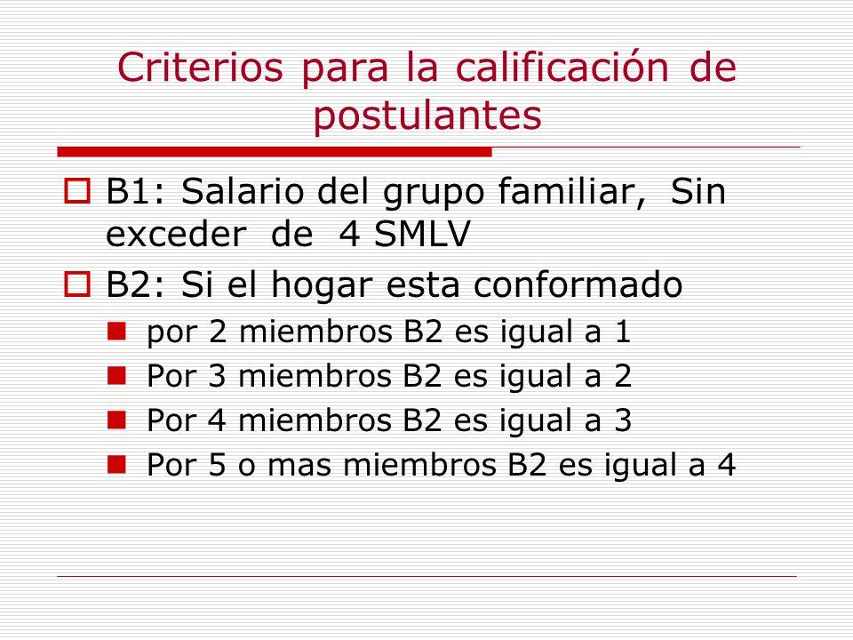 Criterios para la calificación de postulantes