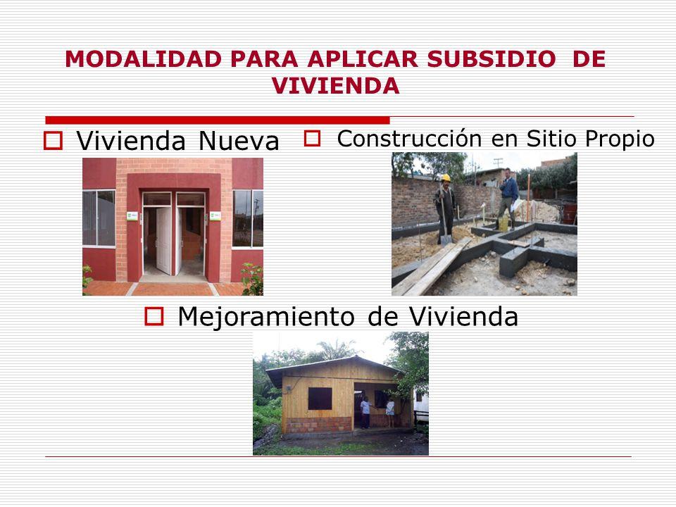 MODALIDAD PARA APLICAR SUBSIDIO DE VIVIENDA