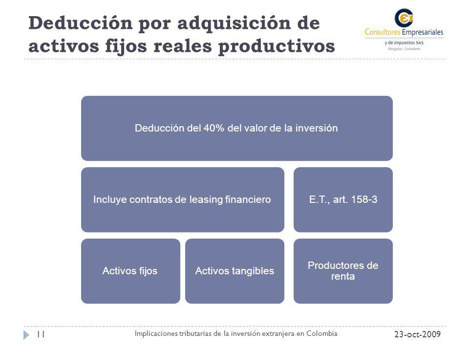 Deducción por adquisición de activos fijos reales productivos