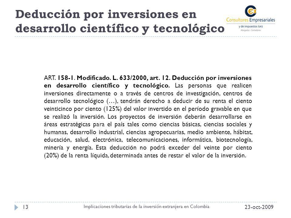 Deducción por inversiones en desarrollo científico y tecnológico