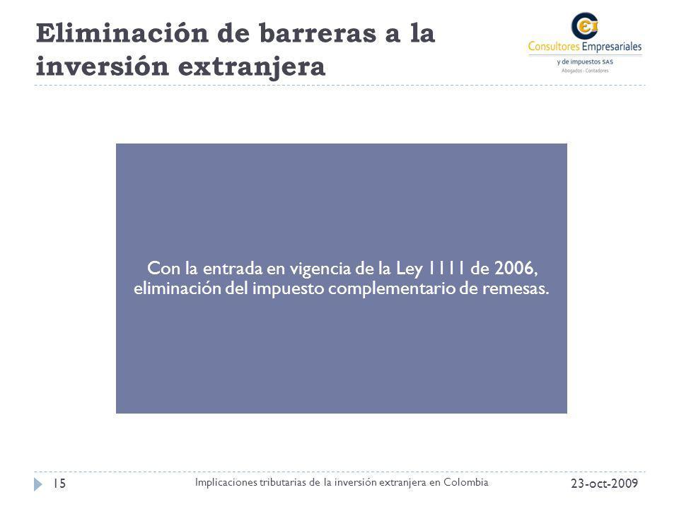 Eliminación de barreras a la inversión extranjera