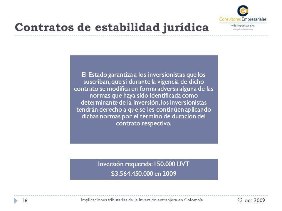 Contratos de estabilidad jurídica