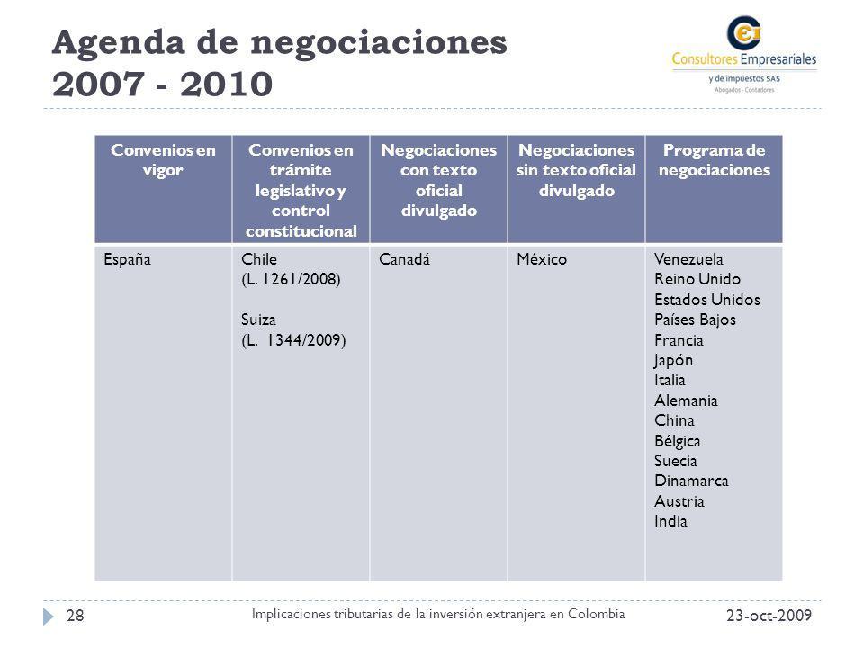 Agenda de negociaciones 2007 - 2010