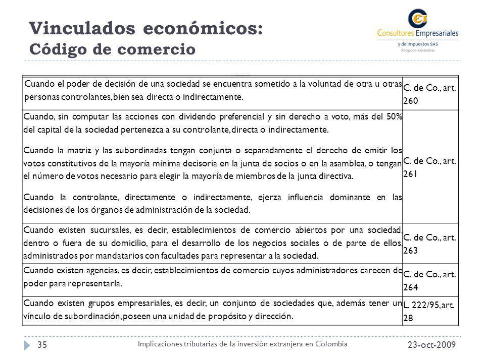 Vinculados económicos: Código de comercio
