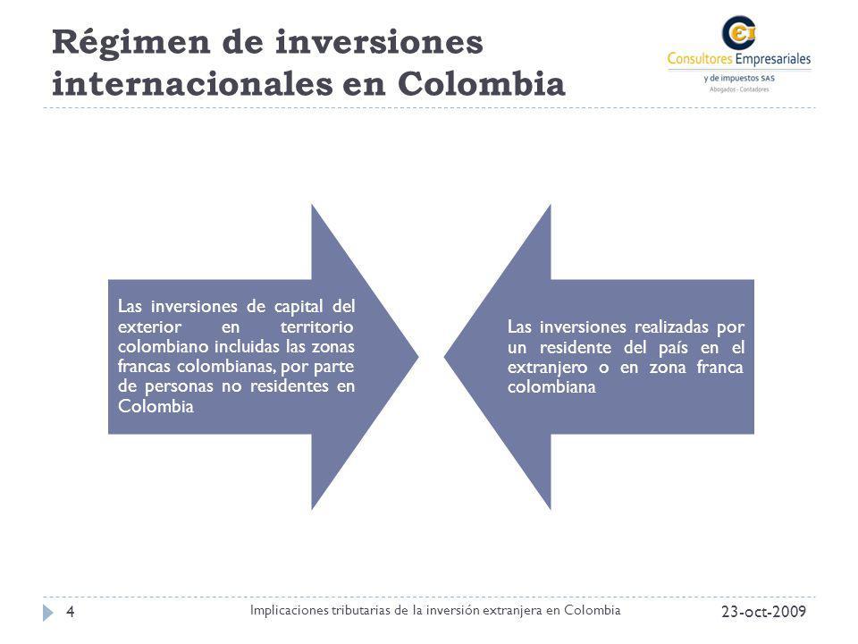Régimen de inversiones internacionales en Colombia