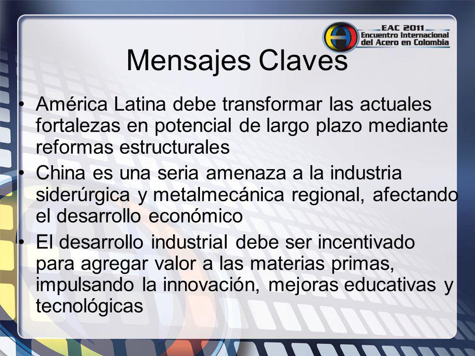 Mensajes Claves América Latina debe transformar las actuales fortalezas en potencial de largo plazo mediante reformas estructurales.