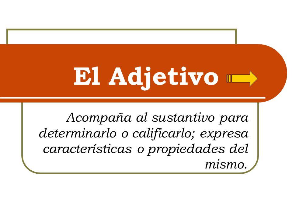 El Adjetivo Acompaña al sustantivo para determinarlo o calificarlo; expresa características o propiedades del mismo.