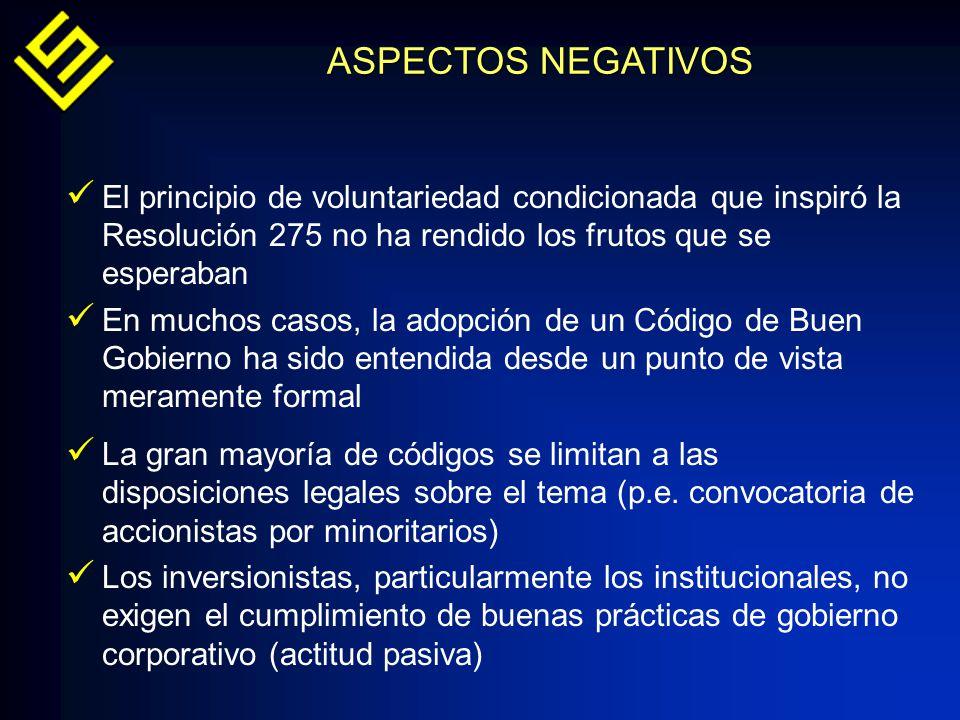 ASPECTOS NEGATIVOS El principio de voluntariedad condicionada que inspiró la Resolución 275 no ha rendido los frutos que se esperaban.