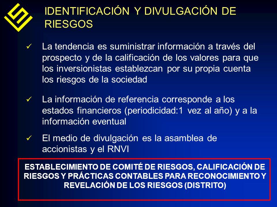 IDENTIFICACIÓN Y DIVULGACIÓN DE RIESGOS