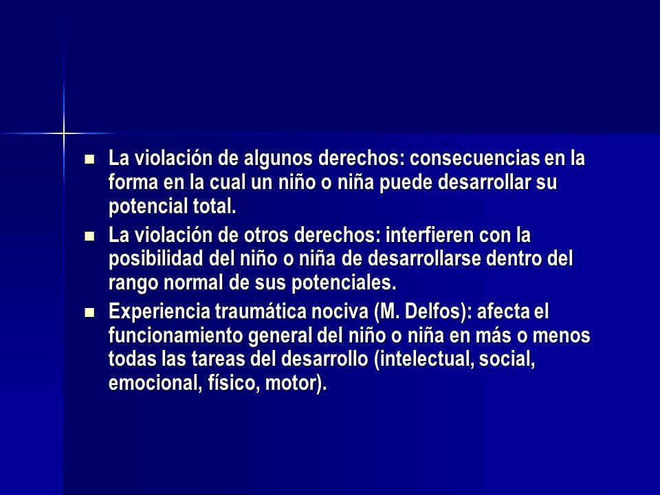 La violación de algunos derechos: consecuencias en la forma en la cual un niño o niña puede desarrollar su potencial total.