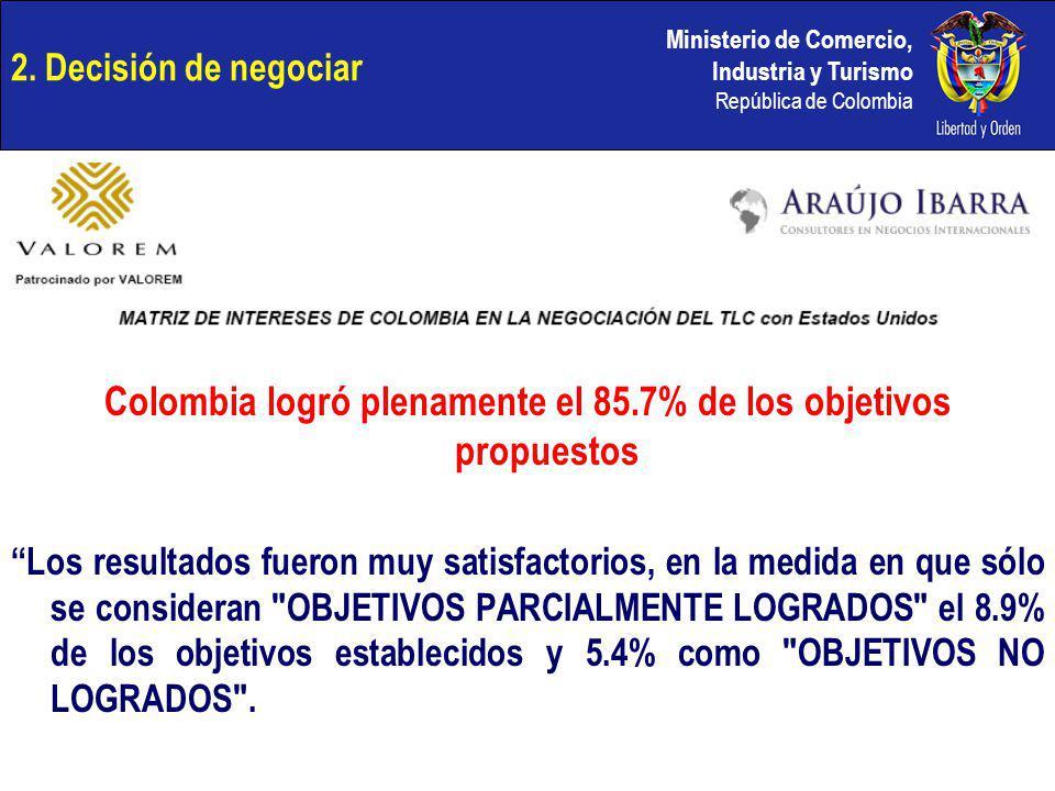 Colombia logró plenamente el 85.7% de los objetivos propuestos