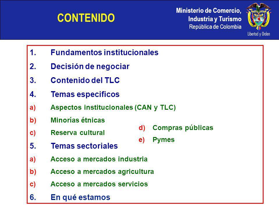 CONTENIDO Fundamentos institucionales Decisión de negociar